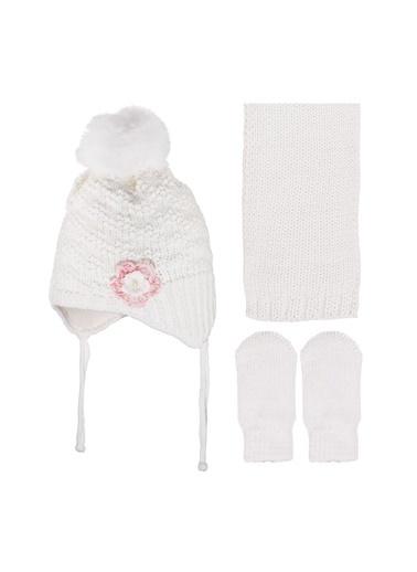 By Bebek Odam By Bebek Odam Çiçekli  Bebek Bere Atkı Eldiven Beyaz